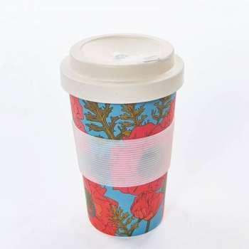 Eco Chic Poppies Bamboo Travel Mug