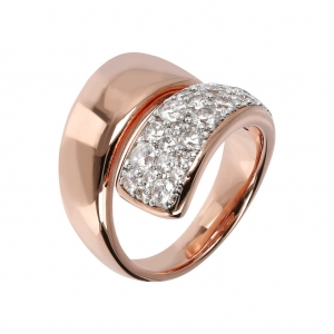 Bronzallure Pave Cubic Zirconia Ring In Rose Gold