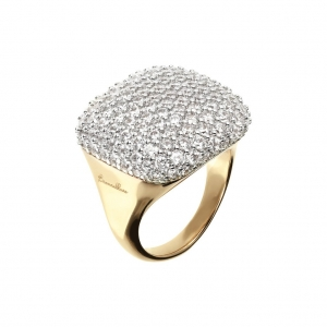 Bronzallure square Pave Ring In Rose Gold