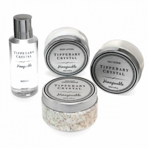 Tipperary Crystal Honeysuckle Set: Bath Oil & Body Lotion & Scrub