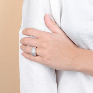 Bronzallure Pave CZ Ring In Rose Gold