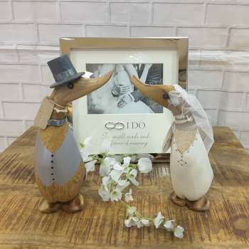 Wedding Gift Duckling Mr & Mrs With Top Hat and Wedding Dress