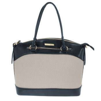Dice Textured Tote Bag In Navy & Cream