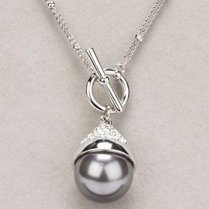 Newgrange Living Grey Pearl T Bar Necklace