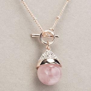 Newgrange Living Rose Quartz T-Bar Necklace