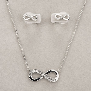 Newgrange Living Silver Infinity Necklace & Earrings