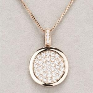 Newgrange Living Rose Gold Diamante Round Pendant