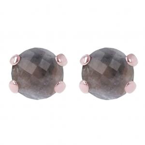 Bronzallure Grey Quartz Gemstone Stud Earrings