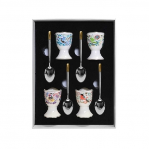 Tipperary Crystal Birdy Set of Four Egg Cups and Spoons