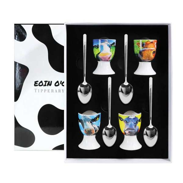 Tipperary Crystal Eoin O Connor Set Four Cow Egg Cup Set