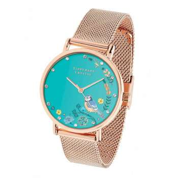 Tipperary Crystal Blue Tit Rose Gold Birdy Watch