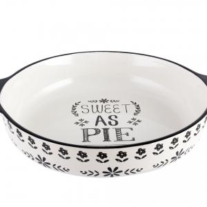 Stir It Up Sweet As Pie Dish Ceramic White