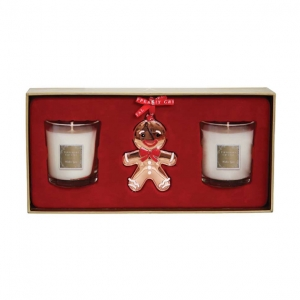 Tipperary Crystal Set Of Two Candles & Gingerbread Decoration