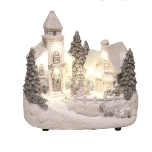 Led Rotating Children & Snowman Church Scene