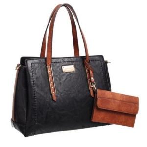 Bessie Black Tote Bag With Tan Trims