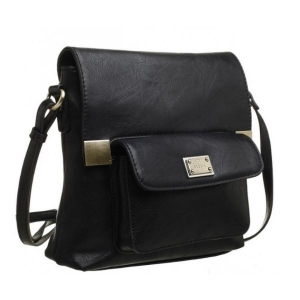 Bessie Bucket Crossbody Bag With Back Zip Pocket Black
