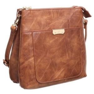 Bessie Tan Classic Bucket Crossbody Bag