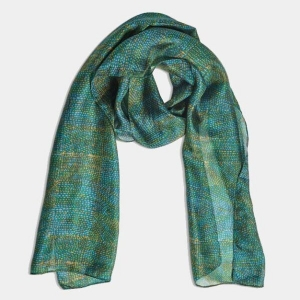 Printed Silk Scarf Gallery Teal From Quintessential