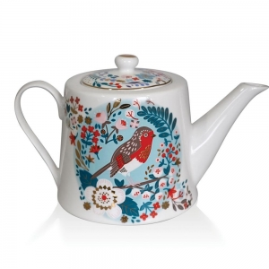 Tipperary Crystal Birdy Robin And Blue Tit Teapot