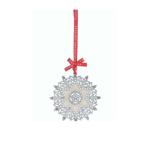Tipperary Crystal Pearl Snowflake Christmas Decoration