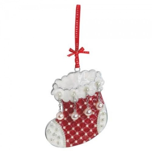 Tipperary Crystal Pearl Stocking Christmas Decoration
