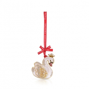 Tipperary Crystal Pearl Swan Christmas Decoration New 2020