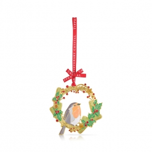 Tipperary Crystal Sparkle Robin & Wreath Decoration New 2020