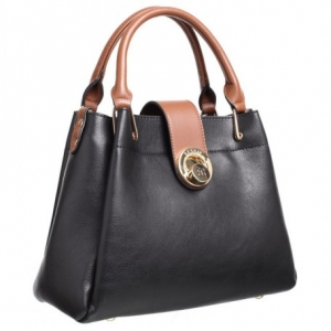 Bessie Black Bag With Tan Trims