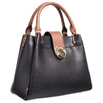 Bessie Black Bag With Tan Trims