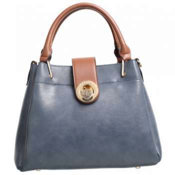 Bessie French Navy Bag With Tan Trims