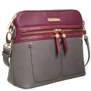 Bessie Grey And Wine Crossbody Bag