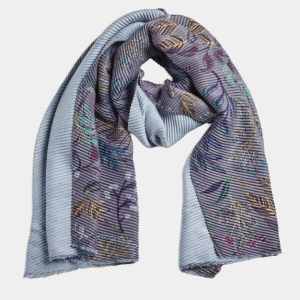 Pleated Floral Grey Shawl Scarf From Quintessential