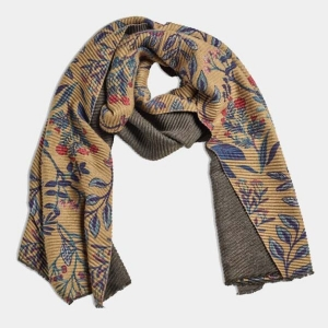 Pleated Floral Mustard Shawl Scarf From Quintessentia