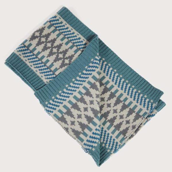 Fairisle Knit Scarf Grey & Tea