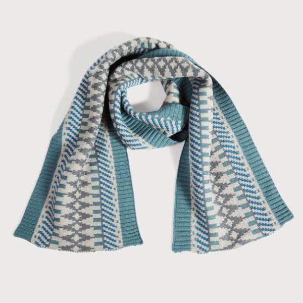 Fairisle Knit Scarf Grey & Teal
