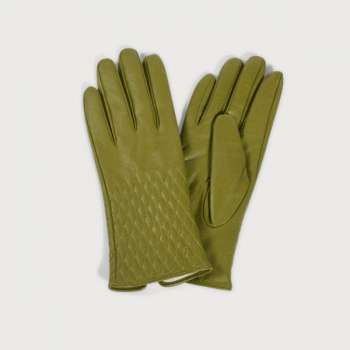 Quintessential Leather Quilted Gloves Olive