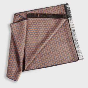 Boxed Mens Scarf With Circles In Orange & Navy