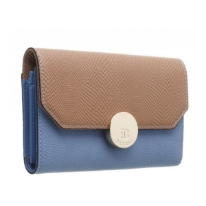 Bessie Flapover Two Tone Purse Tan & Blue