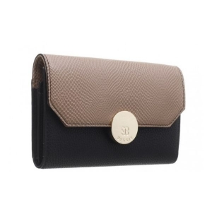 Bessie Flapover Two Tone Purse Black & Tan