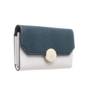 Bessie Flapover Two Tone Purse Teal & White