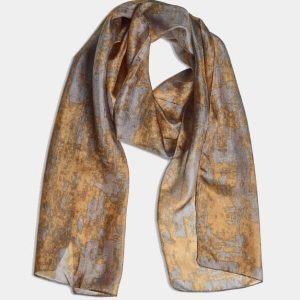 Mustard & Grey Baroque 100% Fine Silk Neck Scarf