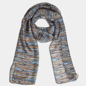 Printed Silk Scarf Shore Blue From Quintessential