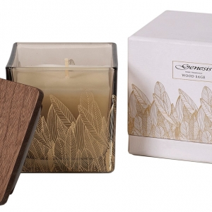 Genesis Wood Sage Square Candle Small
