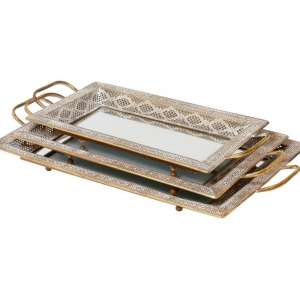 Mindy Brownes Latifa Set Of 3 Trays With Glass
