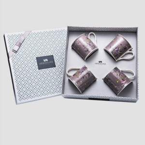 Newgrange Living Thistle Bone China Mug Set 4 in Purple