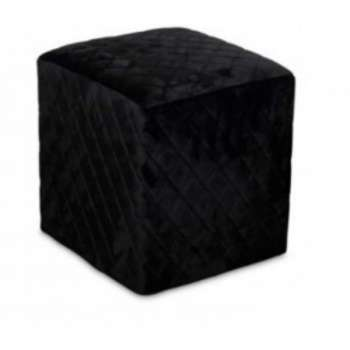 The Grange Cubic Stool With Quilted Velvet (Black )