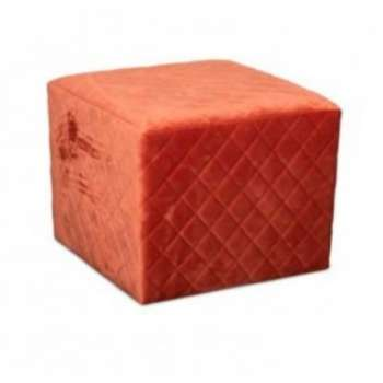 The Grange Cubic Stool With Quilted Velvet (Coral)