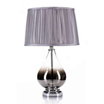The Grange Chrome And Smoked Glass Table Lamp With Grey Shade