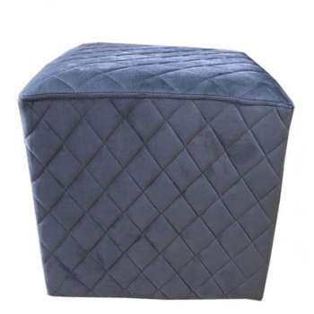 The Grange Cubic Stool With Quilted Velvet (Charcoal)