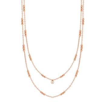 Skandi Triple Bead Rose Gold Long Necklace From Tipperary Crystal